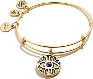 Alex and Ani Path of Symbols Expandable Bangle for Women, Evil Eye and Sodalite Charm, Rafaelian Gold Finish, 2 to 3.5 in