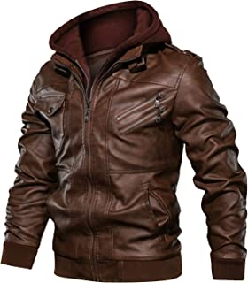 CARWORNIC Men's Faux Leather Jacket Casual Brown Motorcycle Jacket with Removable Hood