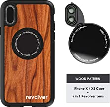 Ztylus Designer Revolver M Series Camera Kit: 6 in 1 Lens with Case for iPhone X/XS - 2X Telephoto Lens, Macro, Super Macro Lens, Wide Angle Lens (Wood Pattern)