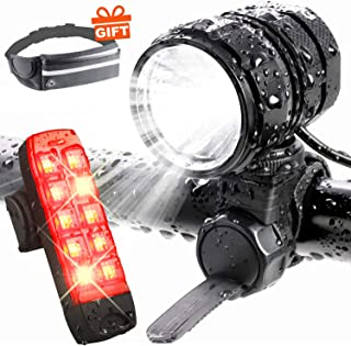 ADAMITA USB Rechargeable LED Bike Light, Road Bicycle Headlight,1200 Lumens Waterproof Front and Back Bicycle Lights Taillight with 4400 mAh Battery Safety Bike Lights