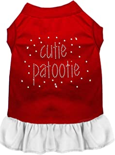 Mirage Pet Products Rhinestone Cutie Patootie Dress, 3X-Large, Red with White