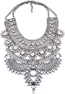 NABROJ Fashion Chunky Necklace Luxury Crystal Bib Collar Necklace Costume Jewelry for Women 7 Colors 1 Pc
