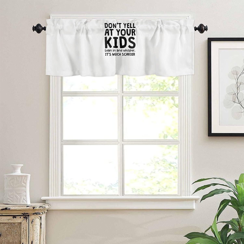 Kitchen Rod Pocket Valance Curtain for Small Windows 54 x 18 Inc
