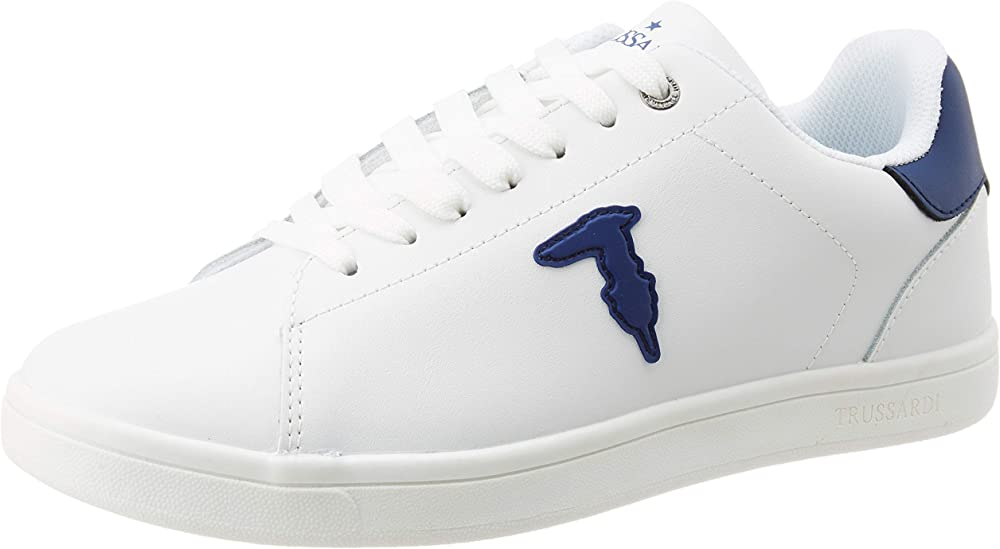 Trussardi jeans, sneakers, ecoleather rubber patc, scarpe sportive con lacci uomo,in pelle 77A002419Y099999 B