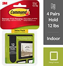 Command Black Picture Hanging Strips, 12 pairs (24 strips), Medium, Decorate Damage-Free (17204BLK-12ES)