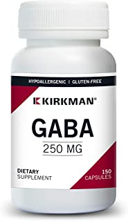 Kirkman GABA 250 mg - Hypoallergenic   150 Vegetarian Capsules   Amino Acid   Promotes restful Sleep