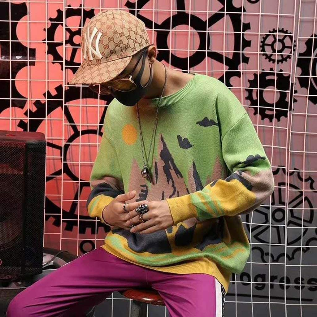 ZYING Winter Knitwear Mens Sweaters Harajuku Hip Hop Landscape Painting Fashion Casual Male Pullovers Outwear Streetwear Jumper (Color : Yellow, Size : M-length-68CM)