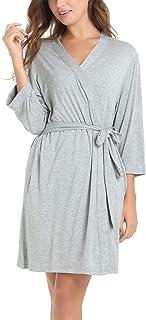 Amorbella Women's Lightweight Bamboo Bathrobe Ultra Soft Sleeping Robe with Pockets 3/4 Sleeve