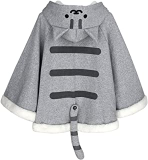 CORIRESHA Gray Cute Catpaw Print Soft Fleece Outwear Chi`s Sweet Home Cat Cape with Cat Ears
