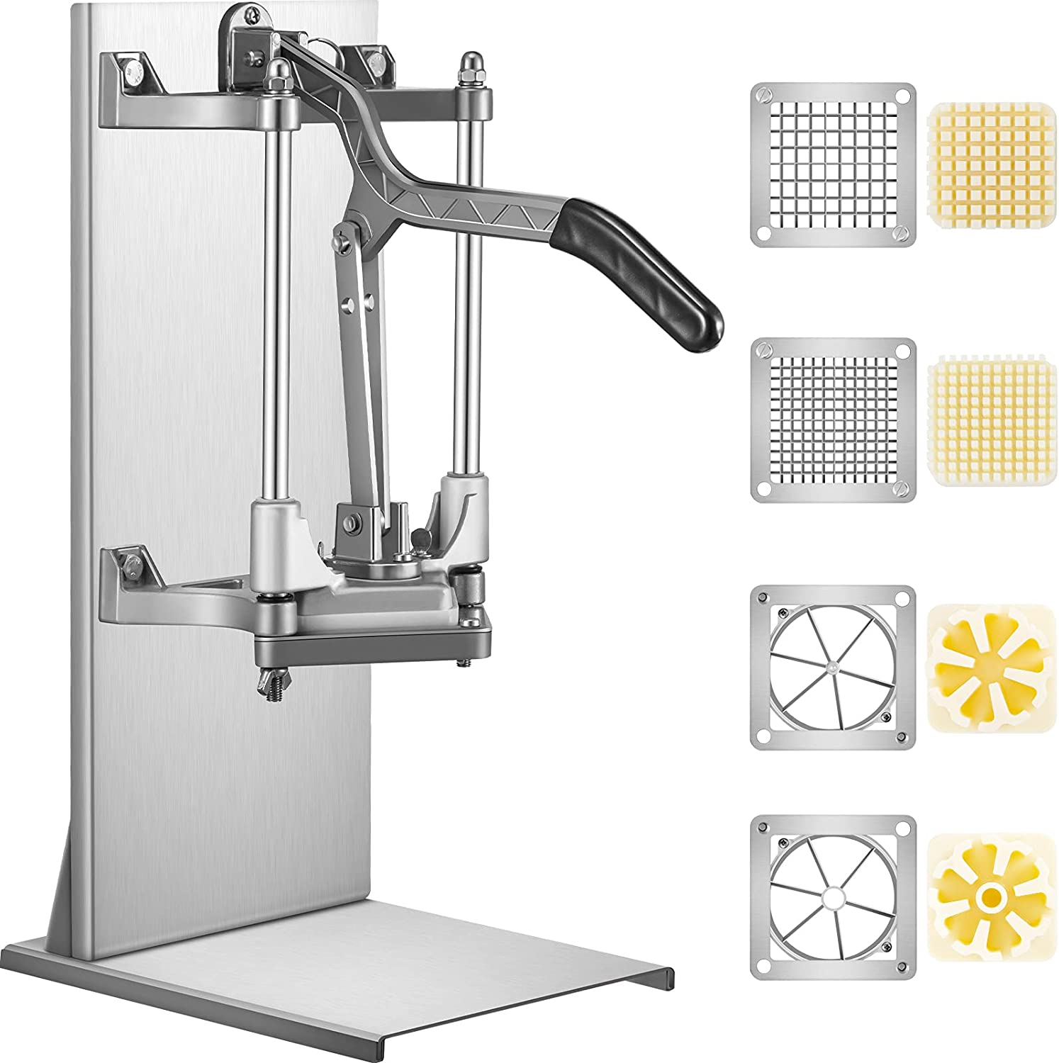 VEVOR Commercial French Fry Cutter with 4 Replacement Blades, 1/4 and 3/8 Blade Easy Dicer Chopper, 6-wedge Slicer and 6-wedge Apple Corer, Lemon Potato Cutter for French Fries with Extended Handle