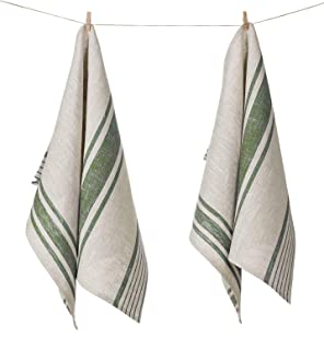 100% Pure Flax Linen Kitchen Tea Towel, Set of 2, 17 x 27 inches, Natural Grey and Olive Green Striped