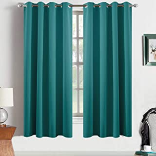 Yakamok Turquoise Light Blocking Window Curtains Thermal Insulated Room Darkening Draperies for Bedroom/Living Room Solid Grommet Top Window Drapes/Panels 52x63 Inch 2 Panels