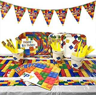 Sopplea Building Blocks Party Supplies Plates Cups Napkins Tablecloth Happy Birthday Banner Kids Building Blocks Birthday Party 58 PCs Serve 8
