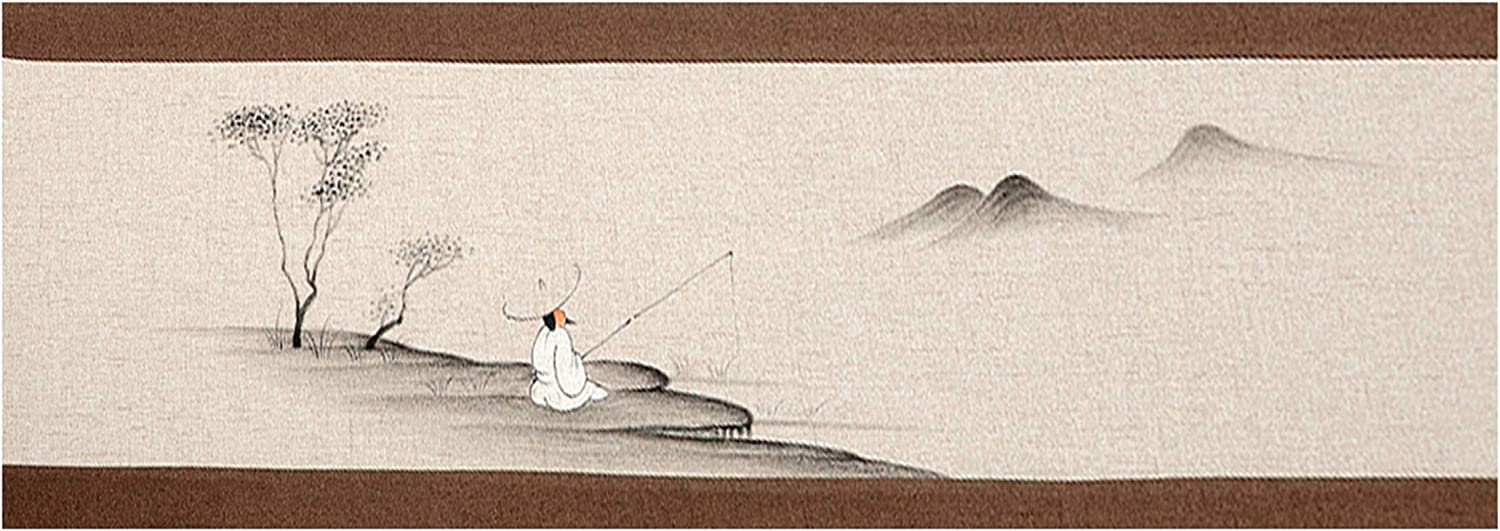 Liveinu メーカー直送 国内正規総代理店アイテム Chinese Painting Table Runner Tablecov Burlap Decorative