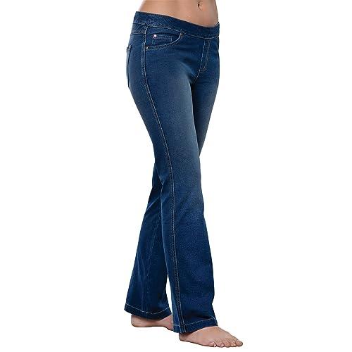 Ladies Womens Girls Slim Fit  Blue Stretch Denim Look Jeggings for Waist 18Size