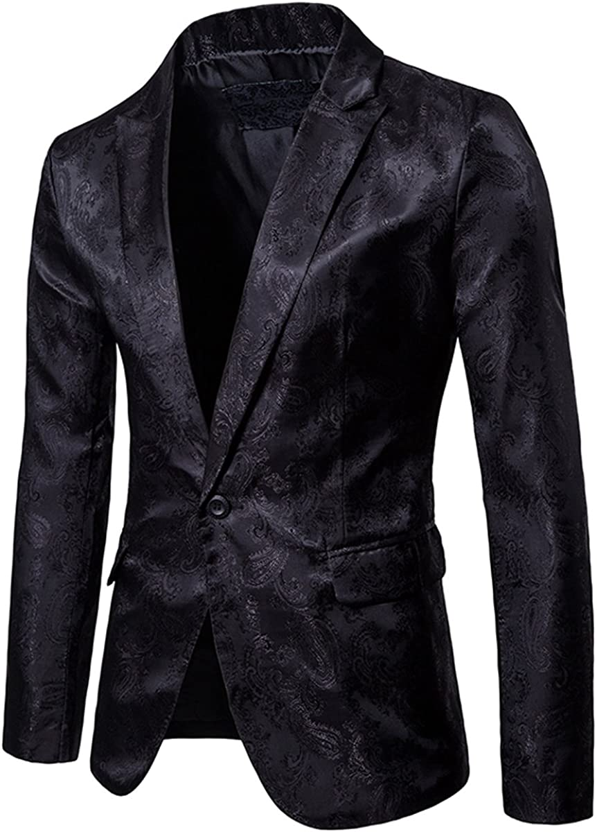 Cloudstyle Mens Slim Fit Paisley Suit Single Breasted Party Suit Jacket 1 Button Sport Coat