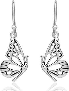 925 Sterling Silver Open Half Butterfly Wing Dangle Hook Earrings For Girls & Women Handmade Gift