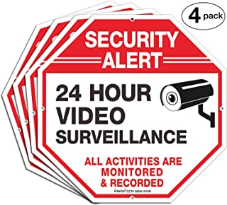 4 Pack surveillance camera signs,
