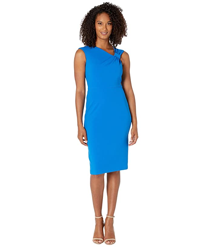 Asymmetric Neck Sheath Dress (Cobalt) Women's Dress