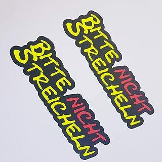 folien zentrum 2X Bitte Nicht Streicheln Neon Gelb Schwarz Aufkleber Shocker Hand Auto JDM Tuning OEM Dub Decal Stickerbomb Bombing Sticker Illest Dapper Fun Oldschool