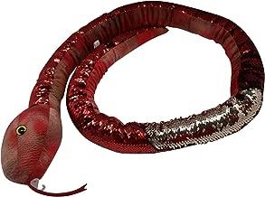 "67"" Snake Stuffed Animal + Free 26"" White/Pink Iridescent~Reversible Flip Sequin Toys for Kids~Sensory Fidget Toy~Soft Plush~Cool Room Decor~Unique Birthday Gift for Girls & Boys (Orange Red)"