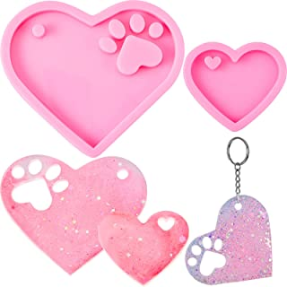 2 Pieces Heart Silicone Mold Heart Paw Keychain Silicone Mold Keychain Pendant Clay Moulds with 20 Pieces Key Rings for DI...