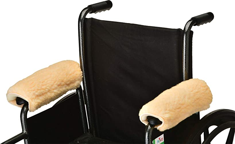 NOVA Medical Sheepskin Fleece Armrest Covers for Wheelchairs, Transport Chairs & Arm Chairs, Universal Fit, Washable, One Pair