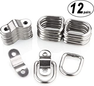 CenterZ 12 Pack Tie Down Rings with Mounting Bracket, Heavy Duty Stainless Steel Lashing Ring D-Ring Anchor Point, 1/4
