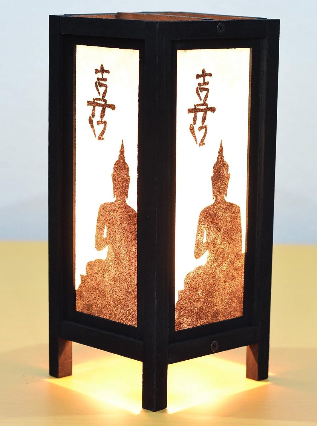 Decorative Lamp Thai Vintage Handmade Asian Oriental Black Buddha Bedside Table Light Floor Wood Paper Lamp Shades Home Bedroom Garden Decoration Modern Design