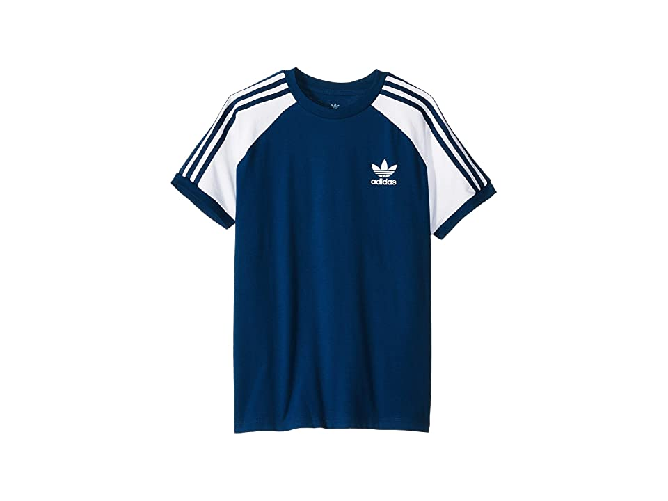 Image of adidas Originals Kids 3-Stripes Tee (Little Kids/Big Kids) (Legend Marine/White) Boy's T Shirt