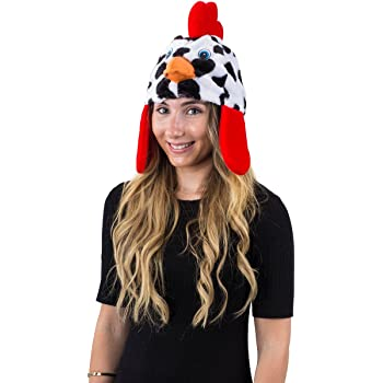 Tigerdoe Chicken Hat, Animal Costume Hat, Soft Plush Rooster Hat, Farm Dress Up Accessory