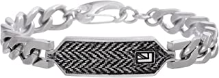 Men's Stainless Steel Curb Chain Bracelet with Black and White Herringbone Design ID Plate