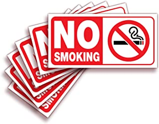 No Smoking Sign Sticker for House, Home & Business – 6 Pack 4x2 inch – Premium Self-Adhesive Vinyl, Laminated for Ultimate...