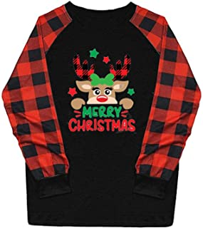 Fudule Merry Christmas Plaid T Shirts Women Long Sleeve...
