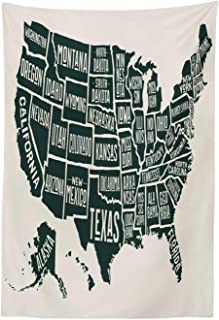 Lunarable USA Tapestry, Black and White Style United States of America Map with Written State Names, Fabric Wall Hanging Decor for Bedroom Living Room Dorm, 30