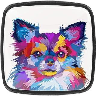 Belle illustration de chien 4 PCS Tiroir de Porte Poignée, Bouton de Meubles, Boutons de Tiroir, Boutons de Porte, Poignée...