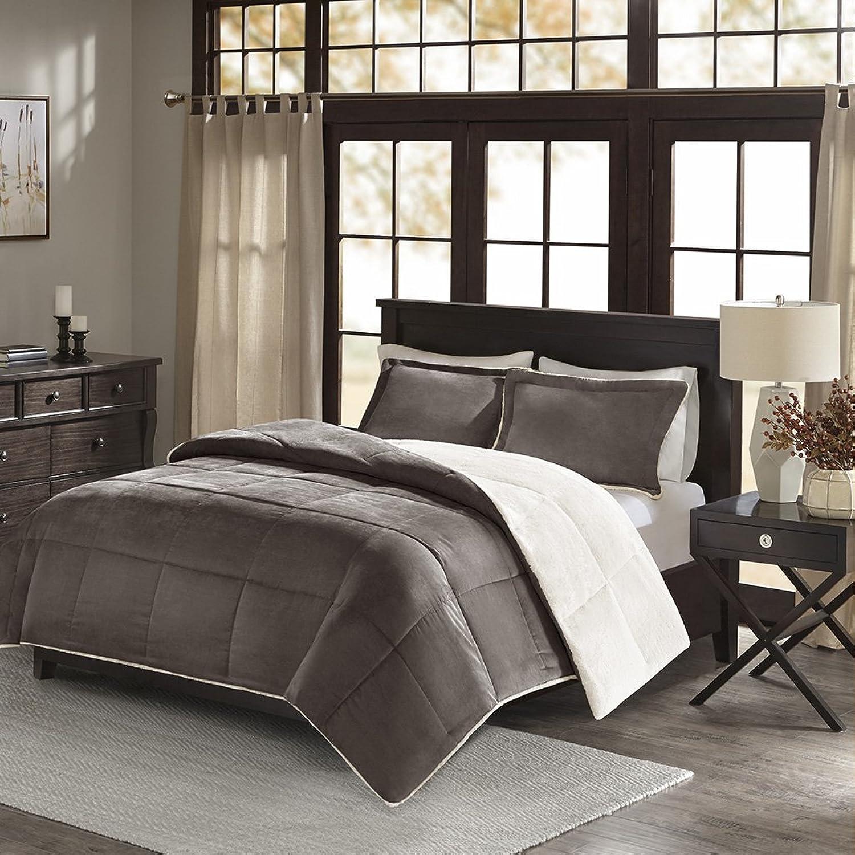 Madison Park Jackson Corduroy Reverse to Berber Comforter Mini Set, King  California King, Grey
