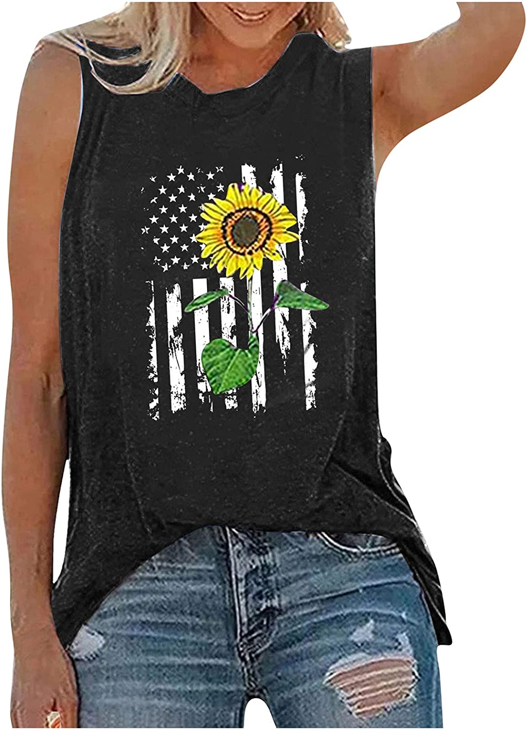 AODONG Tank Tops for Women, Womens Summer Casual Sleeveless Vest Tshirt 4th of July Workout Blouse Tank Top Tunic Tee