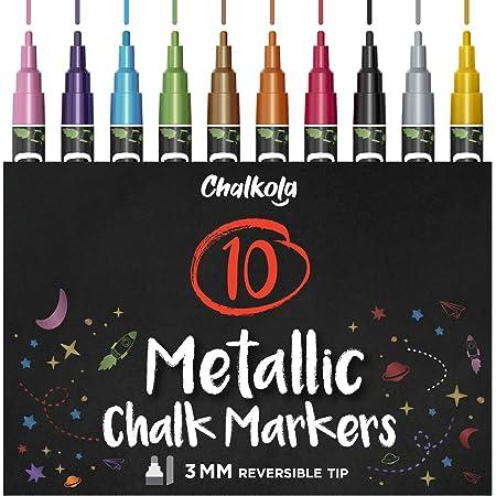 Metallic Liquid Chalk Markers Fine Tip - Dry Erase Marker Pen for Chalkboard Signs, Windows, Blackboard, Glass - 3mm Reversible Tip (10 Pack) - 50 Chalkboard Labels Included