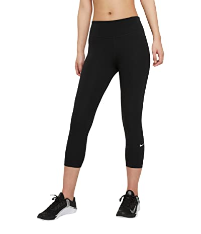 Nike One Tights Mid-Rise Crop 2.0 (Sizes 1X-3X) (Black/White) Women
