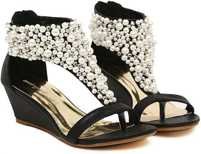 Robert Westbrook Woman Fashion Open Toe Rhinestone Zipper Pearl Beaded Wedges Thong Sandals Women shoes High Heel Black J3915
