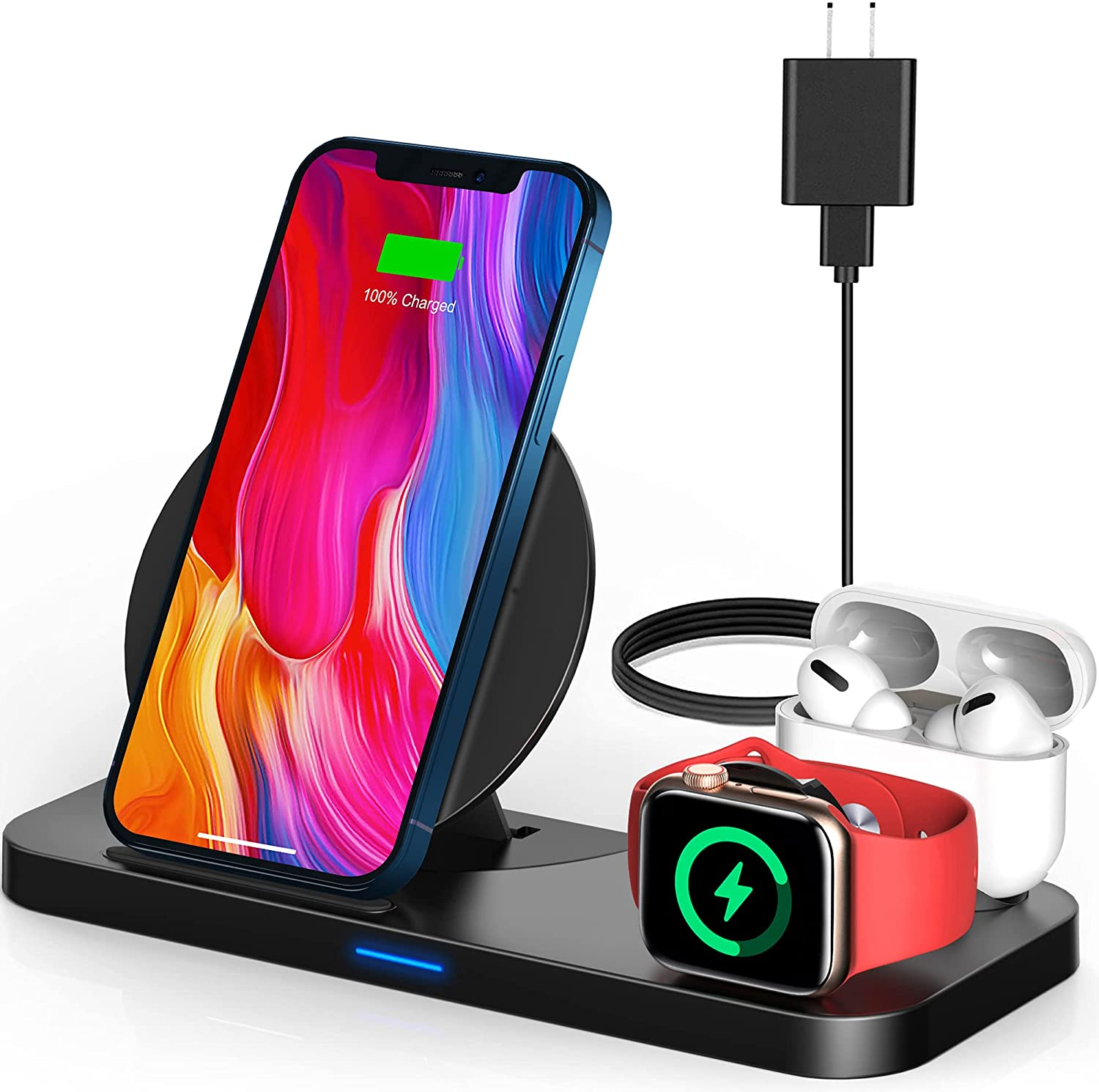Wireless Charging Station for Apple Products, 3 in 1 Wireless Charger Charging Stand Compatible with Apple Watch and Airpods Pro, 2, Fast Charging Dock for iPhone 12 pro, 11, Xs max, Xr, X, 8
