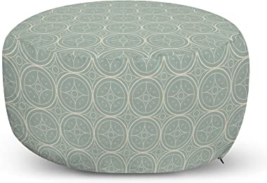 Lunarable Damask Ottoman Pouf, Continuous Star Like Ornaments Within Circles in Bicolored Arrangement, Decorative Soft Foot Rest with Removable Cover Living Room and Bedroom, Dark Sea Green Champagne