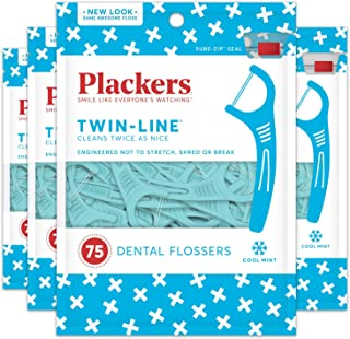 Sponsored Ad - Plackers Twin-Line Dental Floss Picks, 75, Blue 2 Packages 300 Count (Pack of 4)
