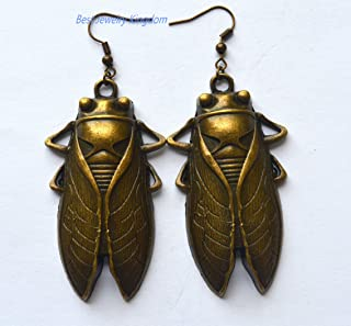Cicada Earrings, Insect Jewelry, Cicada Jewelry, Insect Earrings,Bronze Stud Earrings, Handmade Earrings