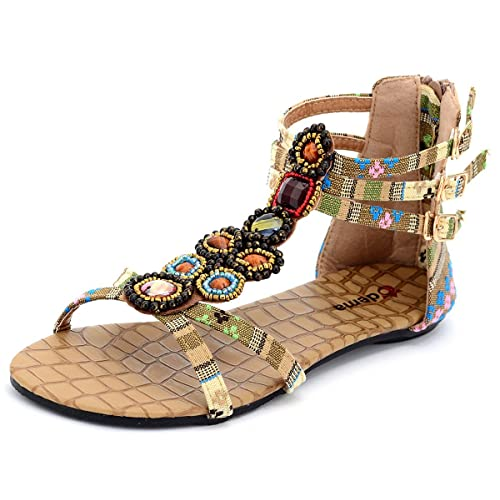 6481989e7 Odema Womens Summer Flat Sandals Bohemian Beads Coin Back Zip Thong Dressy  Sandals Size 4.5-