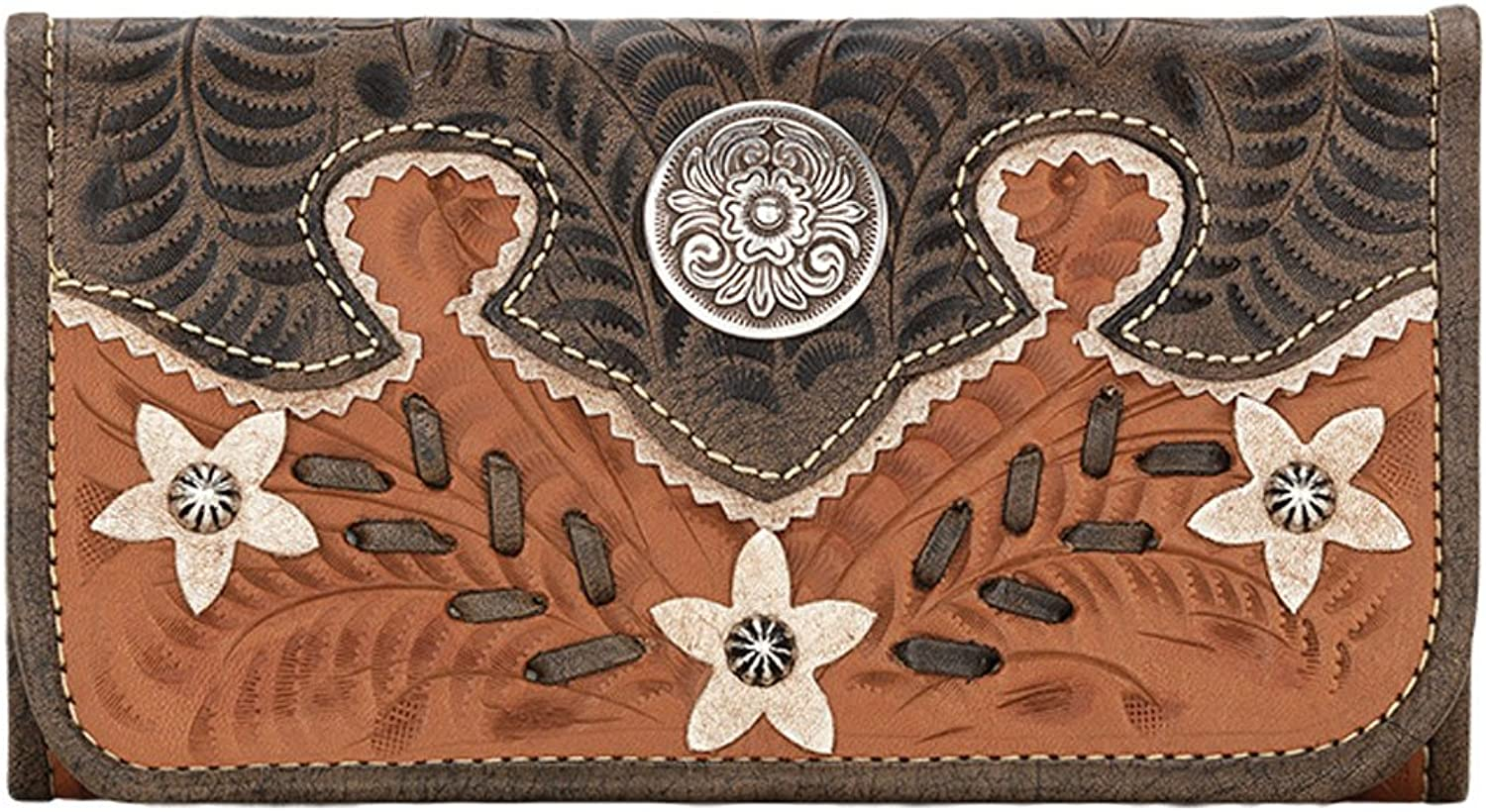America West Leather Ladies' TriFold French Wallet (Desert Wildflower Tan Brown)