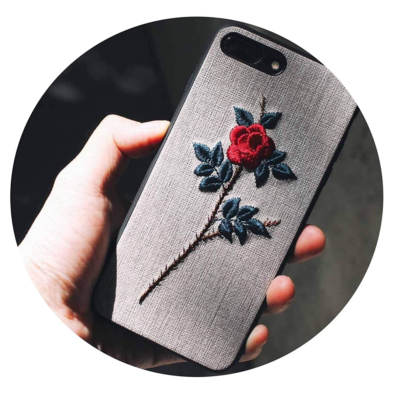 FINDYOU Mobile Phone Shell Embroidery Soft for iPhone8 X XS MAX XR Protective Cover 6Splus Art 7p with Lanyard Korean Women,B, for iPhone 7Plus