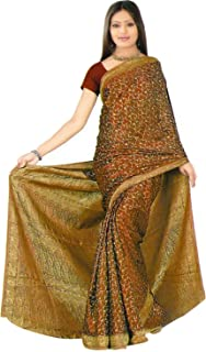 Trendofindia Indian Bollywood Sari Marrón CA129