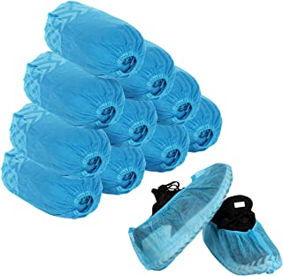 Disposable Shoe Covers - 100 Pack (50 Pairs) Boot Covers Nonslip Dustproof Onesize Fit Most - Perfect for Home Lab Workplace Visiting (Blue)